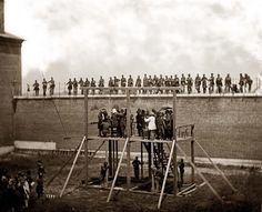 Washington, D.C.  Adjusting the ropes to hang the conspirator's accused of assassinating Lincoln