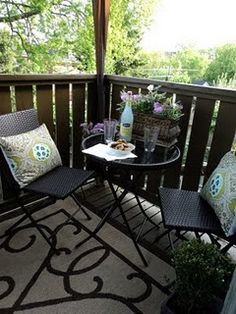 Love the cozy look with rug outside.  But with chairs/cushions to be more cozy.