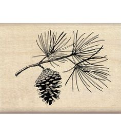 Add cheerful inked images to your handcrafted projects with the Inkadinkado Mounted Rubber Stamp-Pine Bough. This red rubber stamp comes mounted on a hardwood base, which has an indexed edge for easy
