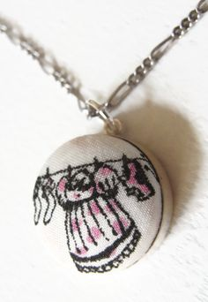 """The Mini Laundry Line: Liberty of London Grayson Perry """"Flo"""" fabric & sterling silver petite necklace by ohyouhandsomedevil on Etsy"""