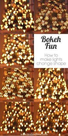 Make lights change shape with homemade Bokeh filters | tealandlime.com