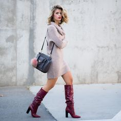 47 The Best Spring Outfit with High Heels That Make your Appearance more Classy # Burgundy Knee High Boots, Leather High Heel Boots, Red Boots, Heeled Boots, High Heel Stiefel, Sexy Stiefel, Slouchy Stiefel, Sweater Dress Boots, Knit Dress