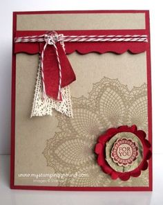 """Stampin' Up! Card Stampin' Supplies; Stamps: A Round Array, Hello, Doily; CS: Crumb Cake, Cherry Cobbler; Ink: Crumb Cake, Cherry Cobbler;  Accessories: Fancy Favor Bigz XL Die,  1-3/4"""" Scallop Circle Punch, 1-3/8"""" Circle Punch, 7/8"""" Scallop Circle Punch, Cherry Cobbler Baker's Twine,  Cherry Cobbler 1/2"""" Seam Binding Ribbon, Victoria 5/8"""" Crochet Trim, Vintage Faceted Designer Buttons"""