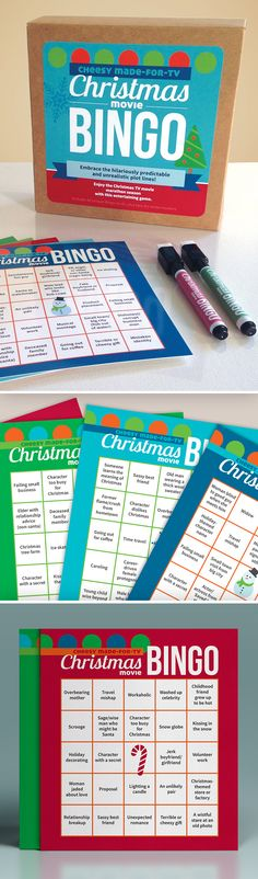 TV Christmas Movie Bingo Game! A funny holiday gift! Embrace the cheesy clichés and predictable plot lines of the made-for-TV Christmas movies on Lifetime, Hallmark, ABC Family, and more with this entertaining game!