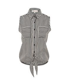 Cameo Rose Black and White Stripe Sleeveless Tie Shirt 17.99 euro New Look