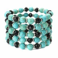 Turquoise and Black Gypsy Beaded Bracelet - a sterling silver bracelet