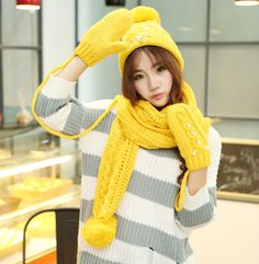 Cheap knit hat scarf and gloves set for women winter wear