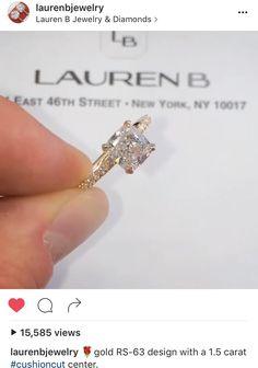 Perfect! #laurenbjewerly #cushioncut #goldengagementring