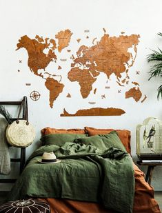 Brown World Map Wall Art by WoodPecStudio. Travel push pin maps for wall office decor, bedroom