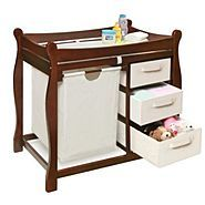 changing center with little organizers for dippers wipes and towels and little stuff like that and for the big organizers you can put clothes for the babby so cool how awsome you should by one at sears