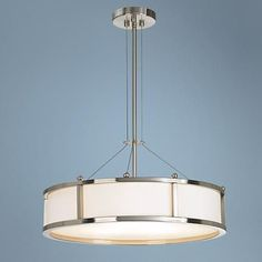 """Satin Nickel 3-Light 20"""" Wide Round Pendant Chandelier.  Lamps Plus.  $199.  Possibly good for over kitchen table Kitchen Lighting Over Table, Dining Table Lighting, Kitchen Chandelier, Entryway Lighting, Kitchen Lighting Fixtures, Light Table, Drum Pendant, Pendant Chandelier, Round Pendant"""