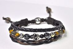 Bracelet cuir argent et pierres