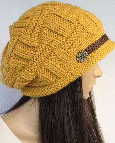 Yellow Slouchy Knitted Hat Cap Beanie 2783c63a4db