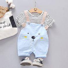 Toddler Stylish Striped Tee and Bear Embroidered Overalls Set – Kindermode sommer Baby Boy Dress, Cute Baby Boy Outfits, Boys Summer Outfits, Baby Outfits Newborn, Cute Baby Clothes, Toddler Outfits, Baby Summer Dresses, Girl Outfits, Toddler Boy Fashion