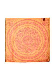 Versace Women's Patterned Silk Scarf, Orange