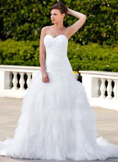 A-Line/Princess Sweetheart Chapel Train Ruffle Beading Appliques Lace Lace Up Strapless Sleeveless Garden / Outdoor General Plus No Spring Summer White Taffeta Tulle Wedding Dress
