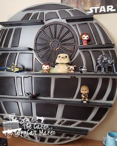 The Death Star Nerd Shelf is not officially hung on the wall, but seriously, I can& wait one more second to show it to you! Funko Pop Shelves, Funko Pop Display, Star Wars Nursery, Star Wars Room, Decoration Star Wars, Boy Room, Kids Room, Star Wars Bathroom, Geek Room