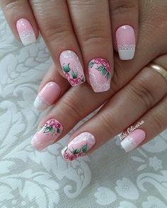 60 Unhas com Desenhos de Rosas feitos à mão 3d Nails, Cute Nails, Pretty Nails, Pink Nail Art, Pink Nails, Flower Nail Designs, Nail Art Designs, Finger, Paws And Claws