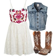 """""""cowgirl outfit with sleeveless denim jacket"""" by bellalee2000 on Polyvore"""