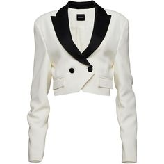 Magda Butrym Contrast Detail Cropped Double Breasted Blazer (4.485 BRL) ❤ liked on Polyvore featuring outerwear, jackets, blazers, blazer, magda butrym, white, white blazers, cropped blazer, white blazer jacket and cropped blazer jacket
