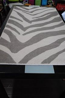 DIY Zebra Pattern Painted Rug- I must do this, wanted the same rug, but it's far too expensive!