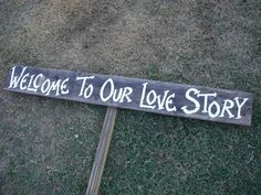 Rustic Wood Wedding Sign on Stake Welcome to Our Love Story Barn Wood. Wood Wedding Signs, Diy Wedding, Rustic Wedding, Dream Wedding, Wedding Day, Wedding Bells, Wedding Stuff, Fantasy Wedding, Wedding Signage