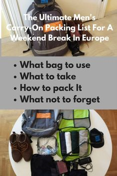 Men's Carry-On Packing List For A Weekend Break In Europe #packinglist #packingtips #carryon #carryonluggage #traveltips #traveltipsideas #weekendbreak