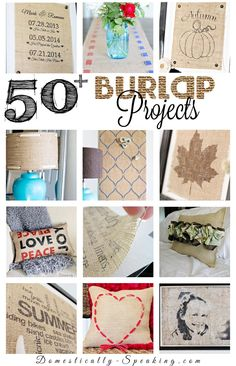 50 Burlap Makeover Projects by Domestically Speaking PLUS 90 more Quick Home Makeover Tips