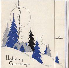 Vintage Greeting Card Christmas Landscape House Snow Art Deco 1940s v785