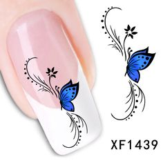 Fashion French with blue butterfly style of Design Tip Nail Art Nail Sticker Nail Decal Manicure Mix Color nail tools-in Stickers & Decals from Health & Beauty on Aliexpress.com | Alibaba Group