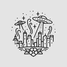 UFO Attack illustration by Liam Ashurst space ship city Doodle Drawings, Easy Drawings, Doodle Art, Drawing Sketches, Pencil Drawings, Sketch Art, Drawing Designs, Cool Art Drawings, Art Du Croquis