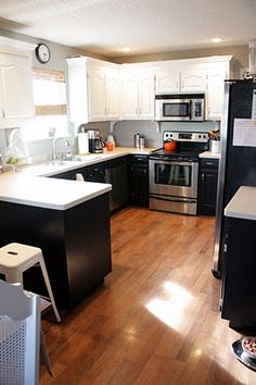 White and black painted cabinets