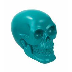 Teal coloured skull centrepiece