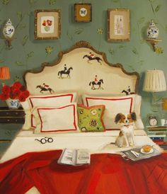"""""""Red Roses And Dark Horses""""--my first Janet Hill print! Going to do a collection of grouped framed prints. Just adore her art! Janet Hill, Equestrian Bedroom, Equestrian Decor, Equestrian Style, Western Decor, World Of Interiors, Chinoiserie, Michael Sowa, Horse Art"""