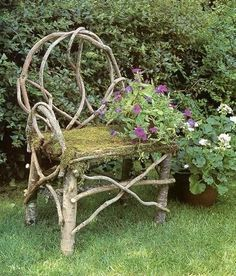 Garden Gates, Arbors, and other Structures A great conversation, a chair made from twigs of small trees with flowers growing up the side . How pretty this would be in my garden! Willow Furniture, Garden Furniture, Rustic Gardens, Outdoor Gardens, Garden Chairs, Garden Seat, Garden Gates, My Secret Garden, Small Trees