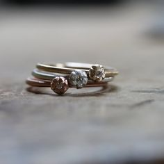 Silver or Gold Diamond Stacking Rings Delicate Floral - Dainty Diamond