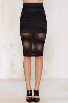 Black Parallel Lines Pencil Skirt