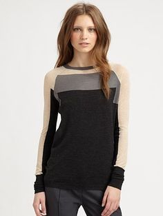 See by Chloe Colorblock Wool Crewneck Sweater