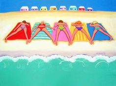"""""""Summer Sun - Funny Beach Women Seashore Cottages"""" by Rebecca Korpita, Mississippi Gulf Coast // Five women in bikinis catch some rays on colorful beach towels as a row of tiny beach cottages beckon in the background in this colorful seashore print from an original painting by Rebecca Stringer Korpita // Imagekind.com -- Buy stunning, museum-quality fine art prints, framed prints, and canvas prints directly from independent working artists and photographers."""