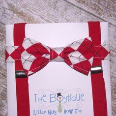 Bow Tie and Suspenders: Red and White Argyle Bow Tie, Baby Suspenders, Toddler Suspenders, Boy Suspender, Christmas, Wedding on Etsy, $26.00