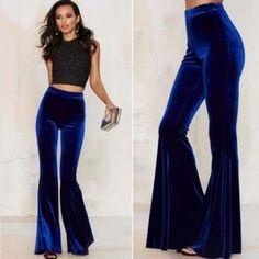Womens Velvet High Waist Stretch Slim Flare Bell Bottom Pants Fashion Trousers N