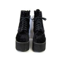 90s black PLATFORM shoes. Lace up black chunky GOTH boots. Grunge punk... (375 ARS) ❤ liked on Polyvore featuring shoes, boots, black velvet boots, chunky-heel boots, chunky platform boots, platform boots and steampunk boots