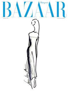 Francisco Costa Calvin Klein Collection Sketch for Harper's Bazaar Russia