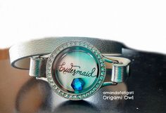 Bridesmaid Origami Owl silver wrap leather bracelet with royal blue accent stone