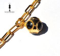 Bracciale bronzo in bagno d'oro giallo più pendente con pietra idrotermale