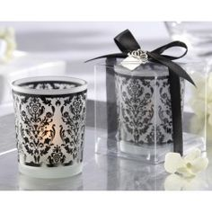 Damask Traditions Frosted Glass Tea Light Holder Favour