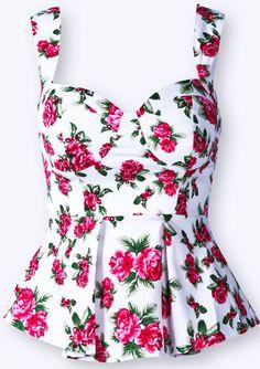 Camiseta tirantes estampada flores-Blanco EUR€17.06