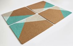 4 Cork Placemats Hand Painted Geometric Design (Original Design) by ChaosNadine on Etsy https://www.etsy.com/listing/464277670/4-cork-placemats-hand-painted-geometric