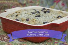 Do you want to make breakfast cake that is egg free but still tasty? Try my fabulous recipe for Egg and Grain Free Blueberry Coffee Cake. This is so yummy!!