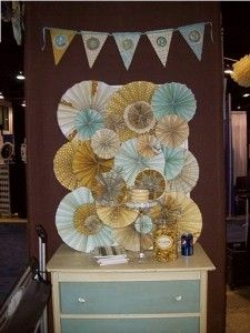 Paper rosette backdrop for sweets table